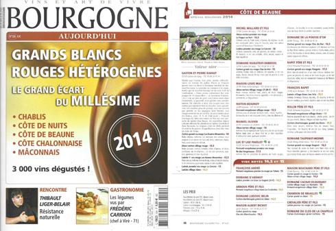 Millésime 2014 dans Bourgogne Aujourd'hui